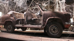 Vintage car in the shed Stock Footage