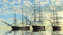 Sailing Ships in sunset Stock Footage
