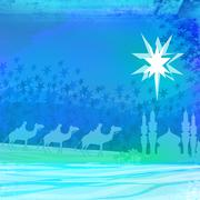 classic three magic scene and shining star of bethlehem - stock illustration