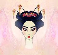 abstract beautiful geisha  portrait - stock illustration