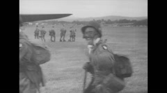 WW2 - US Air Force - Paratroopers 13 - Walking To Aircrafts Stock Footage