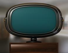 Retro-Futuristic Widescreen TV Stock Illustration