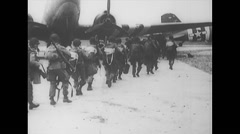 WW2 - US Air Force - Paratroopers 14 - Walk To Aircraft DC-3 - stock footage