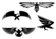 heraldry eagles - stock illustration