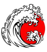 Sea wave and red sun Stock Illustration