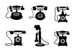 Stock Illustration of retro and vintage telephones