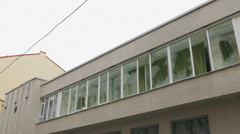 Broken windows at the Interior Ministry in Ternopil Stock Footage