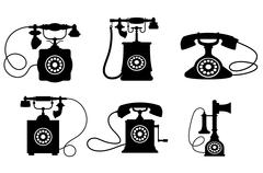 vintage telephones - stock illustration