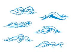 blue sea waves - stock illustration
