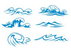Ocean and sea waves Stock Illustration