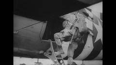 WW2 - US Air Force - Paratroopers 19 - Entering DC-3 Stock Footage