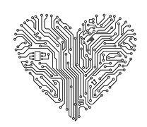Computer heart Stock Illustration