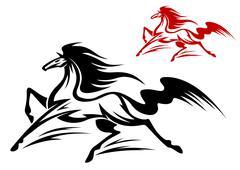 running stallion - stock illustration