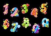 Stock Illustration of colorful children numbers and digits