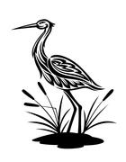 Heron on the bog landscape Stock Illustration