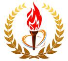 Stock Illustration of flaming torch in laurel wreath