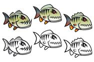Stock Illustration of angry cartoon piranha fish