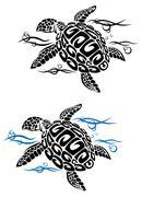 Turtle in sea water Stock Illustration