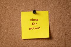 sticker note remind time to action - stock photo