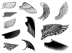 Set of heraldic wings Stock Illustration