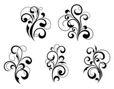 Floral elements and motifs Stock Illustration