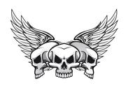 Stock Illustration of three skulls with wings