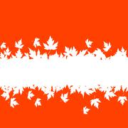autumn leaves background with plank border - stock illustration
