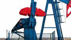 Working oil pump jacks Stock Footage