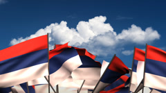 Waving Serbian Flags Stock Footage