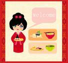 Stock Illustration of sweet girl enjoy sushi - foods set