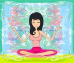 Stock Illustration of yoga girl in lotus position