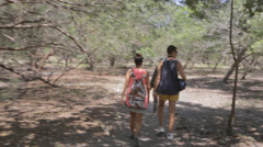 Couple hiking at the Komodo national park Stock Footage
