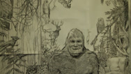 A black and white drawing of Bigfoot and tilts down the camera Stock Footage