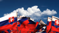 Stock Video Footage of Waving Slovakian Flags