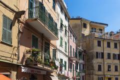 Italy, La Spezia Province, Liguria, Riomaggiore, houses - stock photo