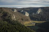 Stock Photo of Germany, Baden Wuerttemberg, View of Upper Danube Valley to Bronnen Castle