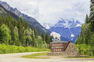 Stock Photo of Canada, British Columbia, Rocky Mountains, sign of Mount Robson Provincial Park