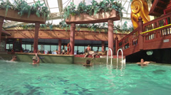 Cruise ship resort swimming pool retreat HD 0249 Stock Footage