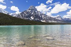 Waterfowl Lakes and Mount Chephren Stock Photos