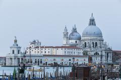 Italy, Venice, Canale Grande, Church Santa Maria della Salute Stock Photos