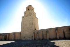 great mosque of kairouan in tunisia - stock photo