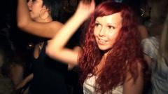 Redhead girl dancing in the club Stock Footage
