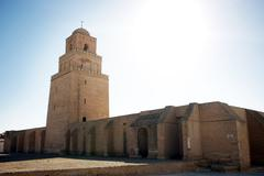 minaret of the great mosque of kairouan - stock photo