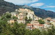 Stock Photo of Corte citadel, the capital city of Corsica, France