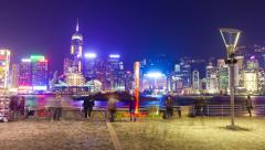 4k hyperlapse video of tourists visiting the Victoria Harbour in Hong Kong Stock Footage