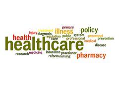 healthcare word cloud - stock illustration