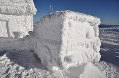 Frozen car at winter - stock photo