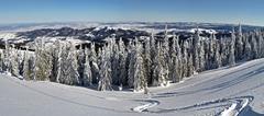 Beautiful panorama of winter mountains - stock photo