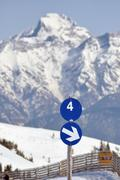a blue ski slope with number 4 - stock photo
