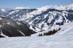 ski resort zell am see, austrian alps at winter - stock photo
